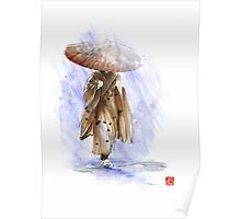 Geisha Japanese woman custom handmade paper umbrella rain Japan japanese painting art  Poster
