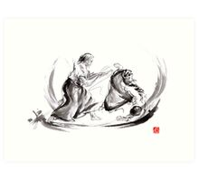 Aikido fight scenery martial arts drawing painting sketch art draw japan japanese school Art Print