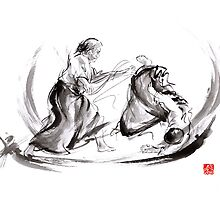 Aikido fight scenery martial arts drawing painting sketch art draw japan japanese school by Mariusz Szmerdt