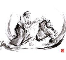 Aikido fight scenery martial arts drawing painting sketch art draw japan japanese school by Mariusz Szmerdt