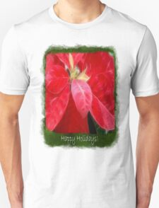 Mottled Red Poinsettia 2 Happy Holidays P1F5 T-Shirt