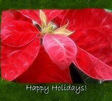 Mottled Red Poinsettia 2 Happy Holidays P1F5 by Christopher Johnson