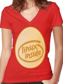 LINUX INSIDE Women's Fitted V-Neck T-Shirt