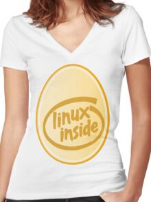 LINUX INSIDE Women's Fitted V-Neck T-Shirt