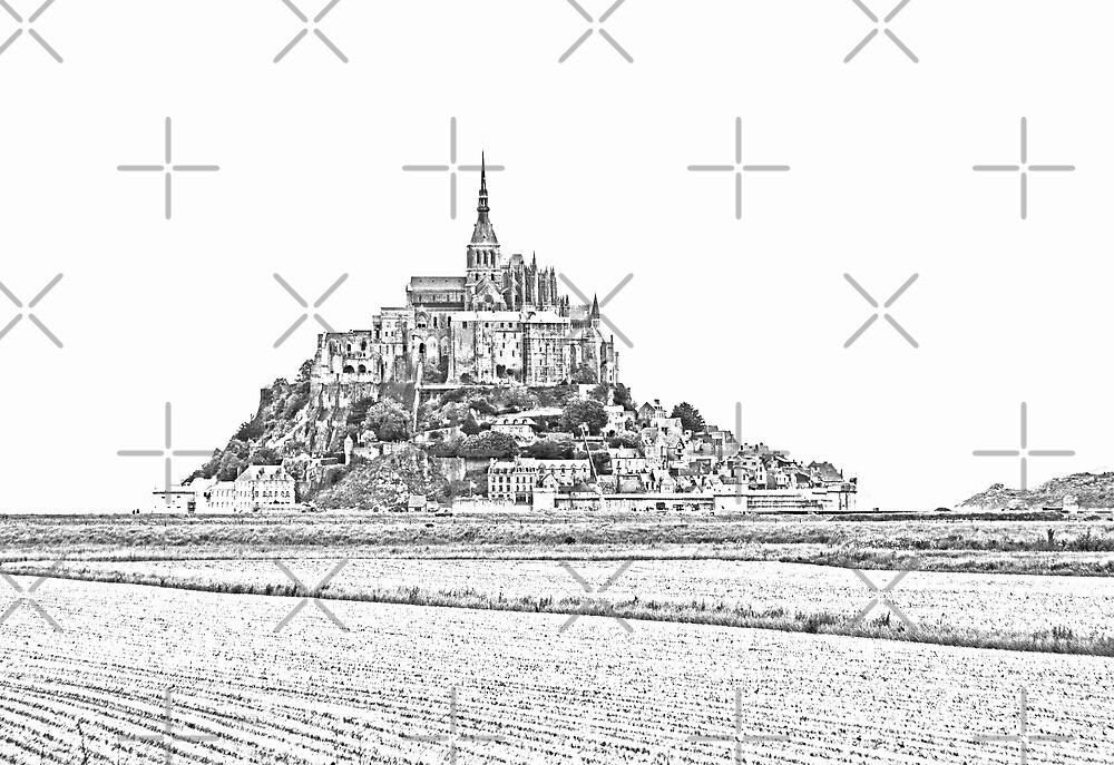 Mont St Michel  - B&W High Key by Buckwhite