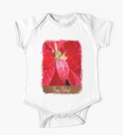 Mottled Red Poinsettia 2 Happy Holidays S1F1 One Piece - Short Sleeve