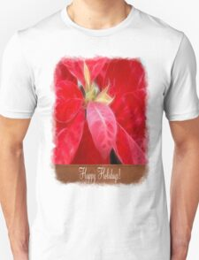 Mottled Red Poinsettia 2 Happy Holidays S1F1 Unisex T-Shirt