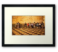 Tourists On The Bench Framed Print