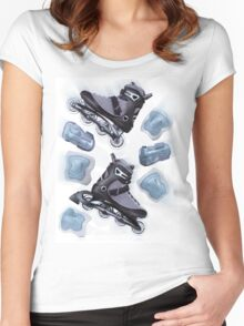 Inline skates and protective gear dynamic still life T-shirt design Women's Fitted Scoop T-Shirt