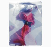 Artistic Fashion Photo of Woman in Shining Blue Light Wearing Red Dress T-shirt design by ArtNudePhotos