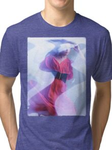 Artistic Fashion Photo of Woman in Shining Blue Light Wearing Red Dress T-shirt design Tri-blend T-Shirt