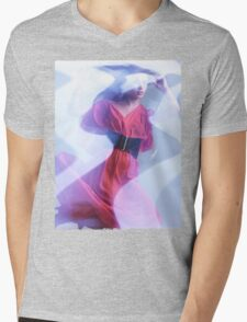 Artistic Fashion Photo of Woman in Shining Blue Light Wearing Red Dress T-shirt design Mens V-Neck T-Shirt