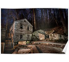 Grist Mill at Night Poster