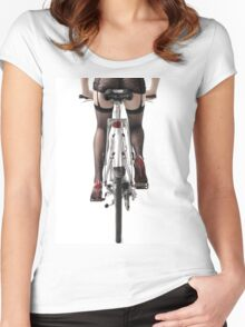Sexy Woman Riding a Bike T-shirt design Women's Fitted Scoop T-Shirt