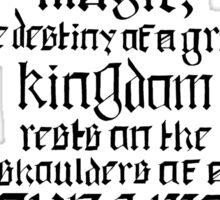 In a Land of Myth... Merlin (black) Sticker