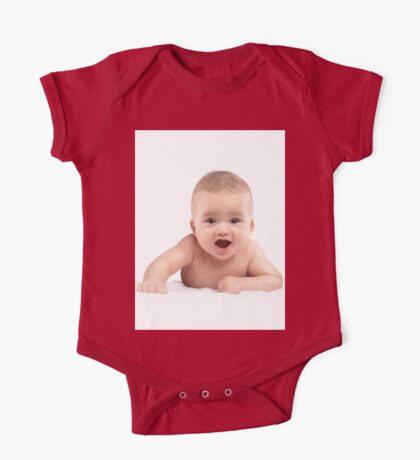 Cute Four Month Old Baby Boy with Funny Excited Expression T-shirt design One Piece - Short Sleeve