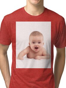 Cute Four Month Old Baby Boy with Funny Excited Expression T-shirt design Tri-blend T-Shirt