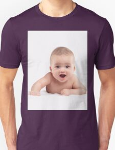 Cute Four Month Old Baby Boy with Funny Excited Expression T-shirt design T-Shirt