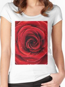 Beautiful Red Rose T-shirt design Women's Fitted Scoop T-Shirt