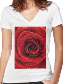 Beautiful Red Rose T-shirt design Women's Fitted V-Neck T-Shirt