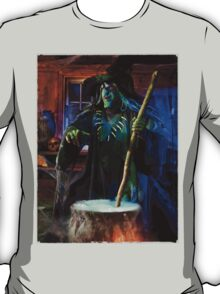 Scary Old Witch with a Cauldron T-shirt design T-Shirt