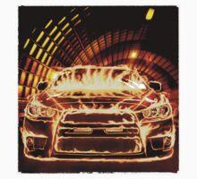 Sports Car in Flames T-shirt design by ArtNudePhotos