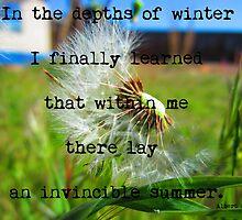 Albert Camus Quote -Invincible Summer by Michelle McCullough