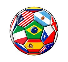 Brazil 2014 - soccer with various flags Photographic Print