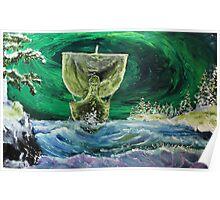 Aurora borealis and the drakkar (classical oil painting for posters and prints) Poster