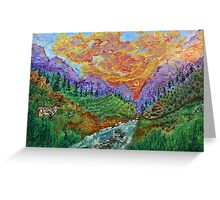 Alpine landscape with a deer (classical oil painting for posters and prints) Greeting Card