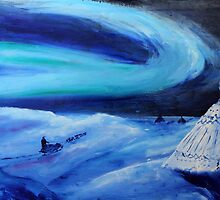 Aurora borealis (classical oil painting for posters and prints) by konovalenko