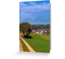 Old tree, small village, beautiful panorama   landscape photography Greeting Card