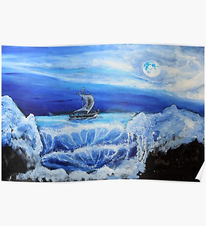 Coast-dwellers boat ((classical oil painting for posters and prints))2 Poster