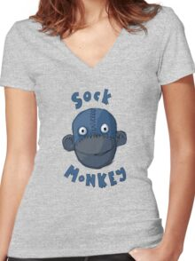 Crafty Sock Monkey Always Happy to See You ! Women's Fitted V-Neck T-Shirt
