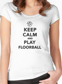Keep calm and play Floorball Women's Fitted Scoop T-Shirt