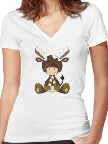 Cute Reindeer Kid Pattern Women's Fitted V-Neck T-Shirt