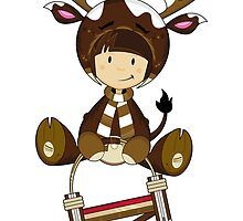 Cute Reindeer Kid on Sledge by MurphyCreative
