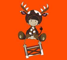 Cute Reindeer Kid on Sledge Kids Clothes