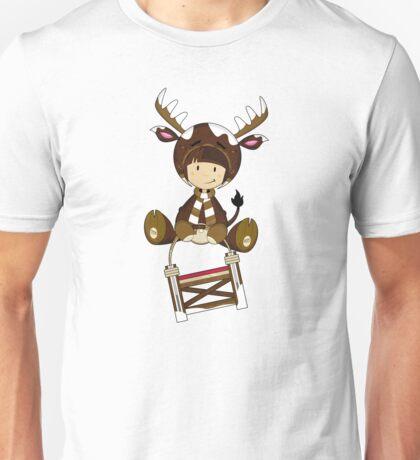 Cute Reindeer Kid on Sledge Unisex T-Shirt