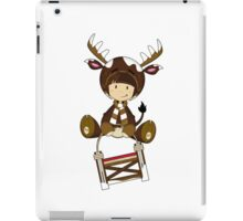 Cute Reindeer Kid on Sledge iPad Case/Skin
