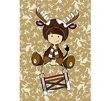 Cute Reindeer Kid on Sledge Photographic Print