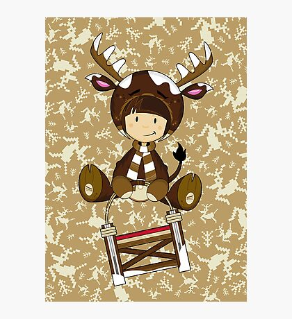 Cute Reindeer Kid on Sledge Photographic Print