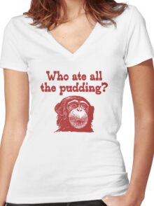 Pudding Monkey Women's Fitted V-Neck T-Shirt