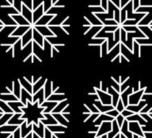 minimalist snow flakes on black Sticker