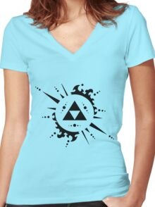 Triforce Black and White Women's Fitted V-Neck T-Shirt