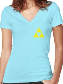 Triforce Badge Yellow Low Cost HQ Women's Fitted V-Neck T-Shirt