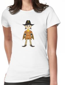 Cute Poncho Cowboy Pattern Illustration Womens Fitted T-Shirt