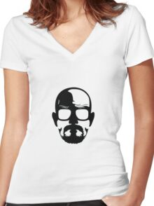 Heisenberg face Silouhette Shadow Women's Fitted V-Neck T-Shirt