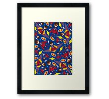 Cute Superhero Pattern Framed Print
