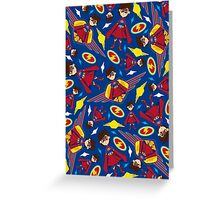 Cute Superhero Pattern Greeting Card